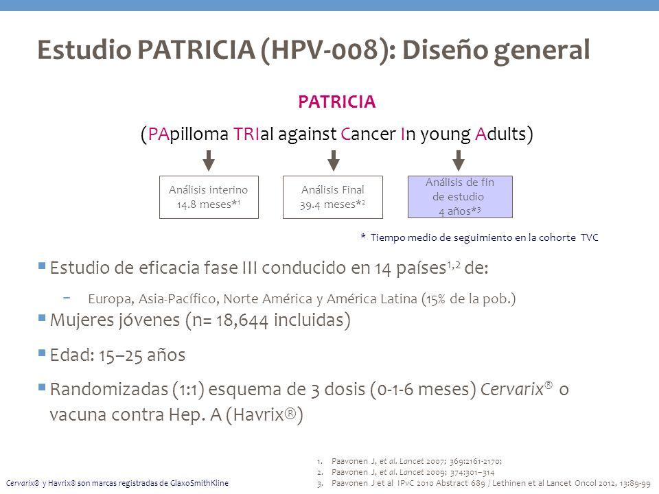 Estudio PATRICIA (HPV-008): Diseño general Estudio de eficacia fase III conducido en 14 países 1,2 de: Europa, Asia-Pacífico, Norte América y América