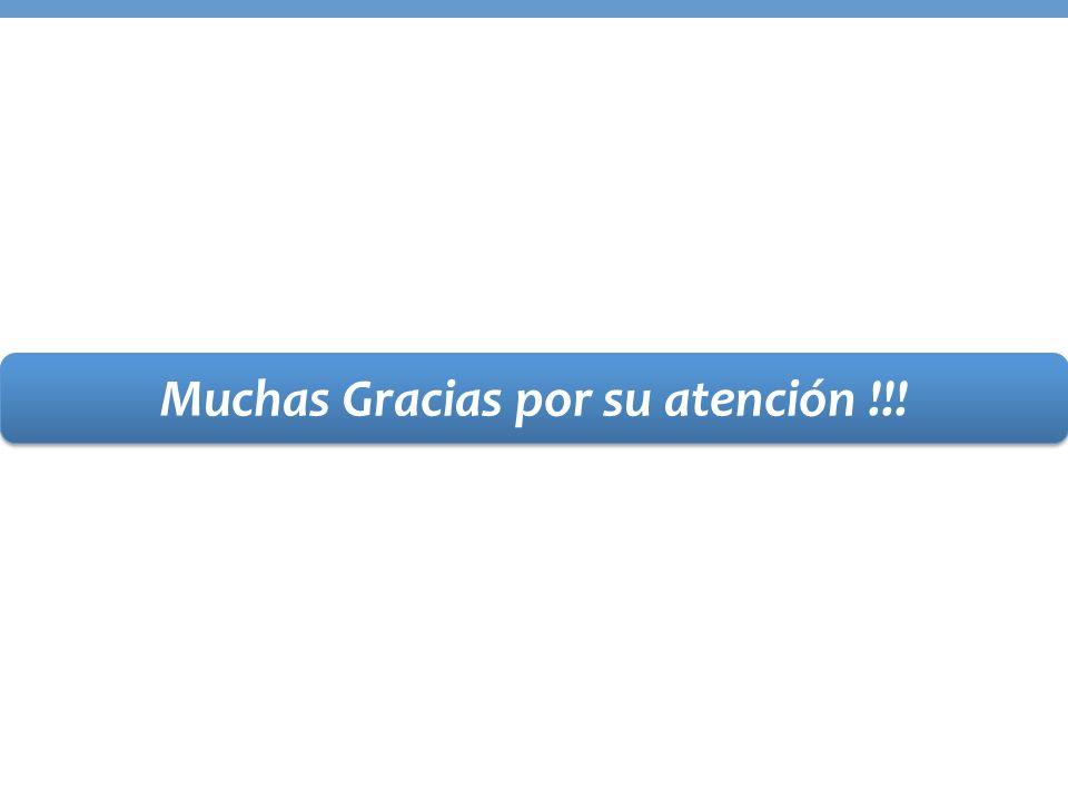 Muchas Gracias por su atención !!!