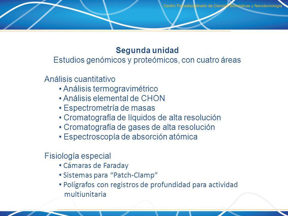 Segunda unidad Estudios genómicos y proteómicos, con cuatro áreas Análisis cuantitativo Análisis termogravimétrico Análisis elemental de CHON Espectro