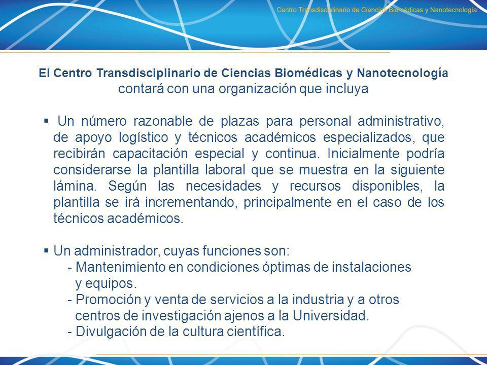 El Centro Transdisciplinario de Ciencias Biomédicas y Nanotecnología contará con una organización que incluya Un número razonable de plazas para perso