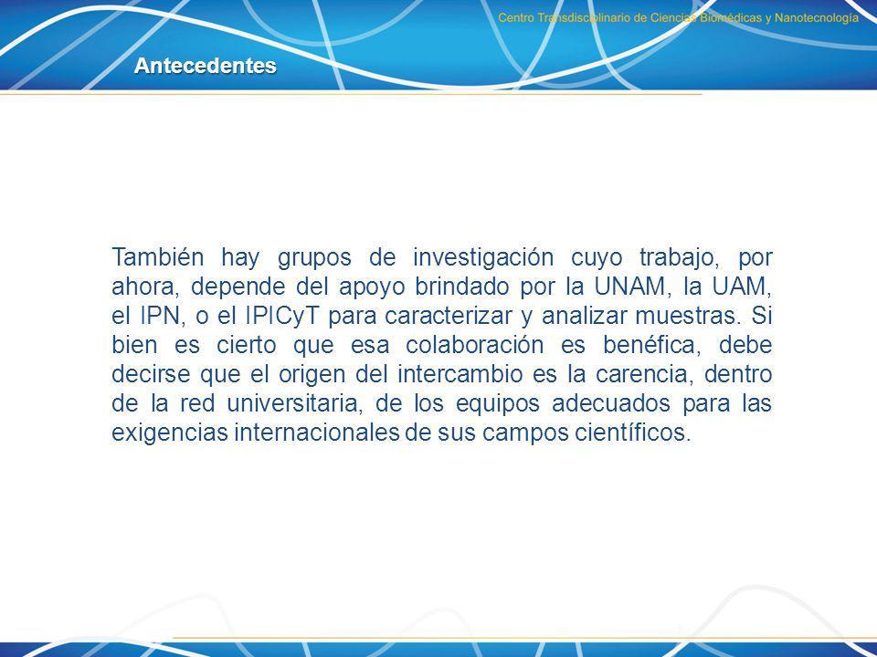 También hay grupos de investigación cuyo trabajo, por ahora, depende del apoyo brindado por la UNAM, la UAM, el IPN, o el IPICyT para caracterizar y a
