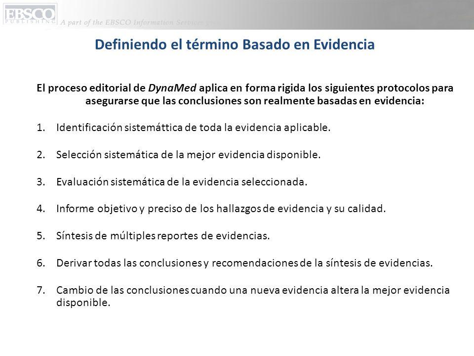Definiendo el término Basado en Evidencia El proceso editorial de DynaMed aplica en forma rigida los siguientes protocolos para asegurarse que las conclusiones son realmente basadas en evidencia: 1.Identificación sistemáttica de toda la evidencia aplicable.