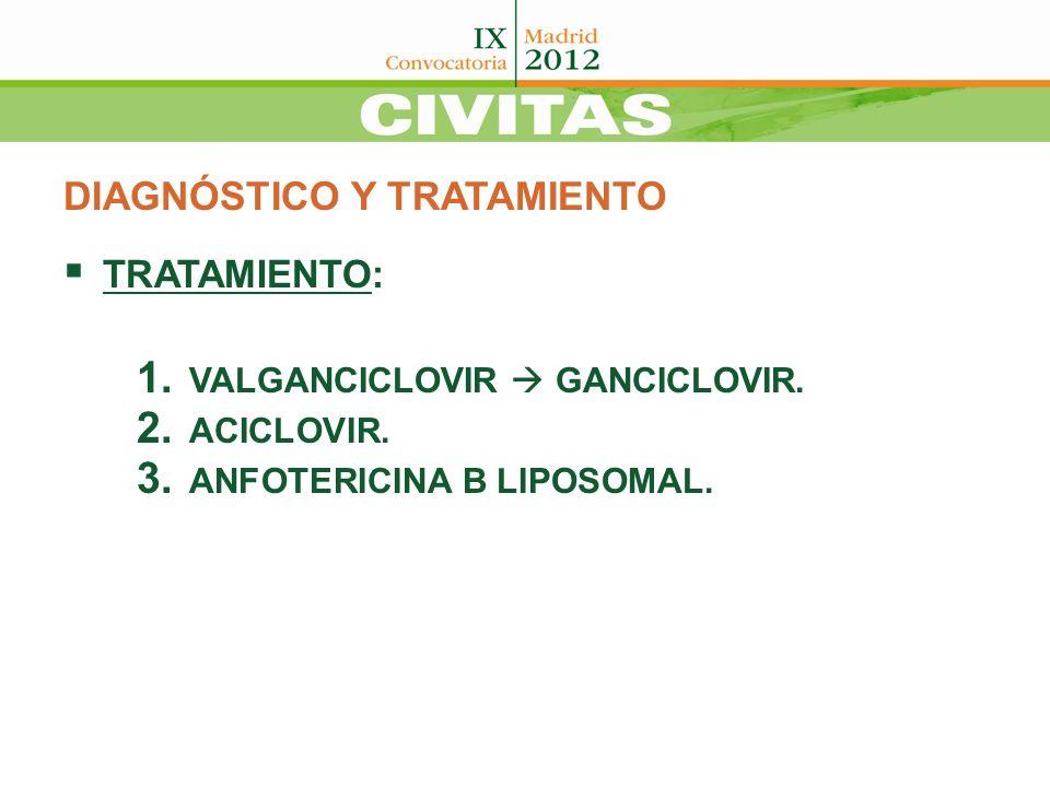 DIAGNÓSTICO Y TRATAMIENTO TRATAMIENTO: 1. VALGANCICLOVIR GANCICLOVIR. 2. ACICLOVIR. 3. ANFOTERICINA B LIPOSOMAL.