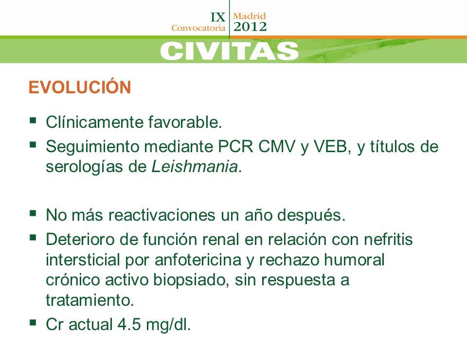 EVOLUCIÓN Clínicamente favorable. Seguimiento mediante PCR CMV y VEB, y títulos de serologías de Leishmania. No más reactivaciones un año después. Det