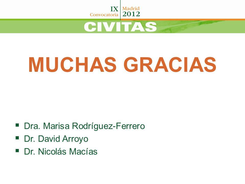 MUCHAS GRACIAS Dra. Marisa Rodríguez-Ferrero Dr. David Arroyo Dr. Nicolás Macías