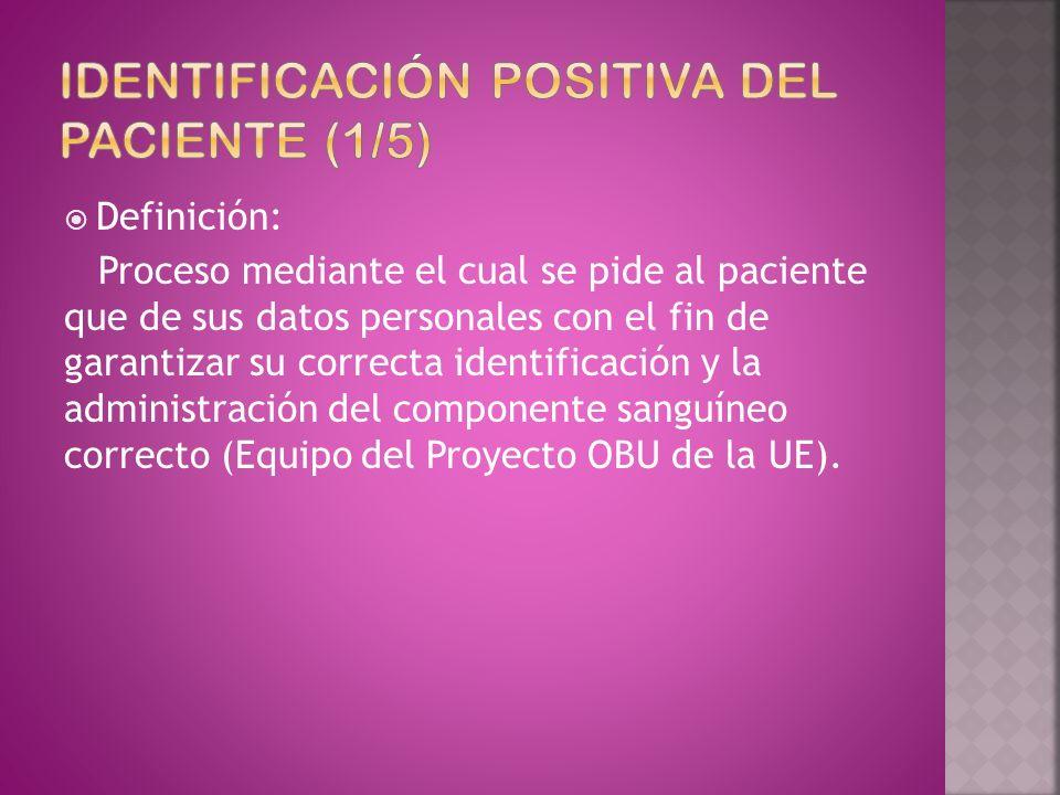 Definición: Proceso mediante el cual se pide al paciente que de sus datos personales con el fin de garantizar su correcta identificación y la administ
