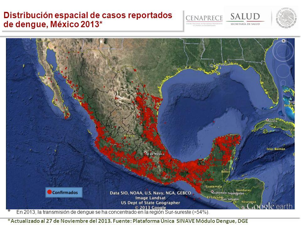 Distribución espacial de casos reportados de dengue, México 2013* En 2013, la transmisión de dengue se ha concentrado en la región Sur-sureste (>54%).