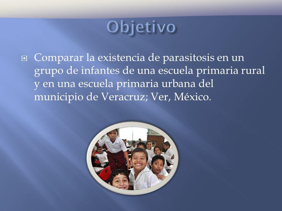 Comparar la existencia de parasitosis en un grupo de infantes de una escuela primaria rural y en una escuela primaria urbana del municipio de Veracruz