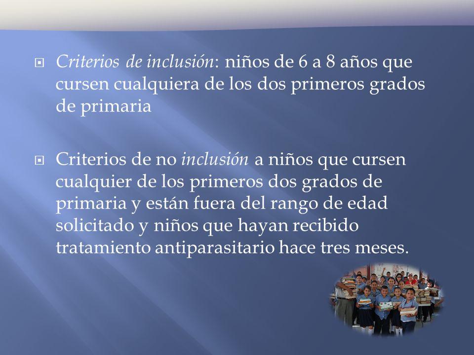 Criterios de inclusión : niños de 6 a 8 años que cursen cualquiera de los dos primeros grados de primaria Criterios de no inclusión a niños que cursen