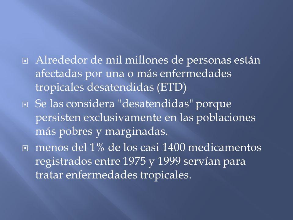 Alrededor de mil millones de personas están afectadas por una o más enfermedades tropicales desatendidas (ETD) Se las considera