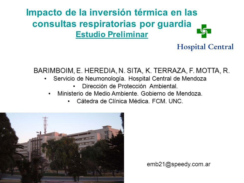 Impacto de la inversión térmica en las consultas respiratorias por guardia Estudio Preliminar BARIMBOIM, E. HEREDIA, N. SITA, K. TERRAZA, F. MOTTA, R.