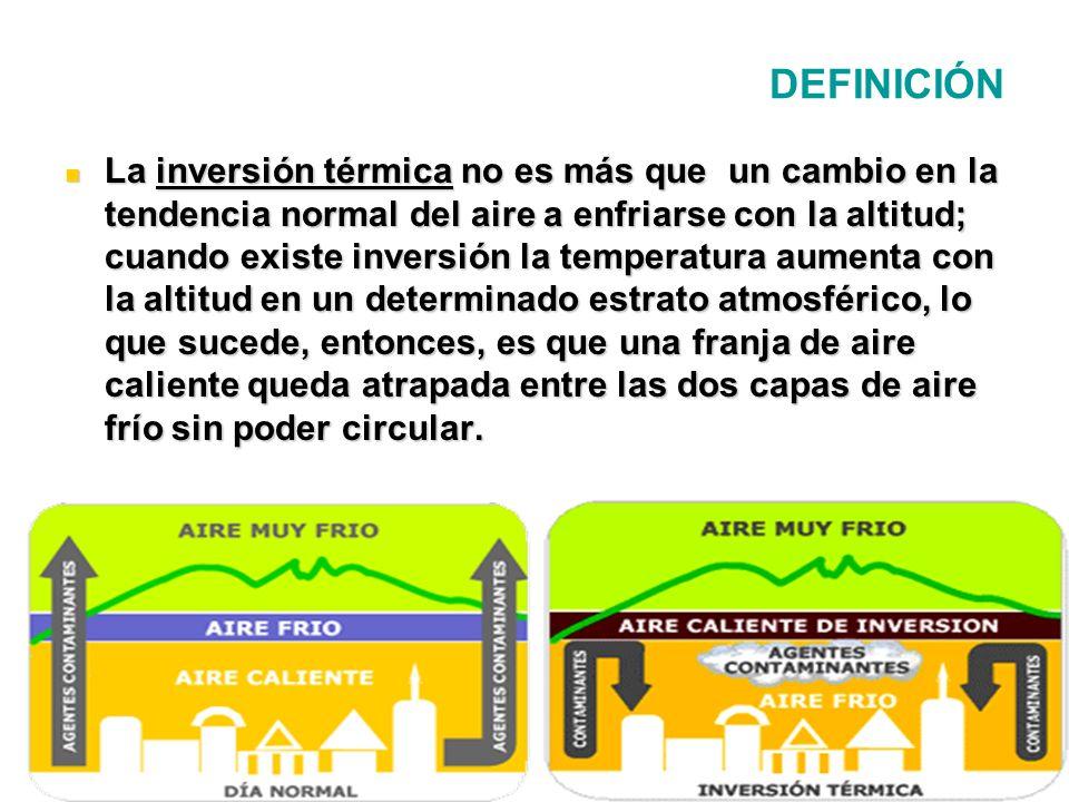 DEFINICIÓN La inversión térmica no es más que un cambio en la tendencia normal del aire a enfriarse con la altitud; cuando existe inversión la tempera