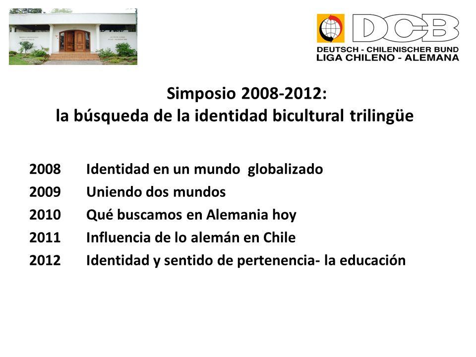 Simposio 2008-2012: la búsqueda de la identidad bicultural trilingüe 2008 Identidad en un mundo globalizado 2009 Uniendo dos mundos 2010 Qué buscamos en Alemania hoy 2011 Influencia de lo alemán en Chile 2012 Identidad y sentido de pertenencia- la educación