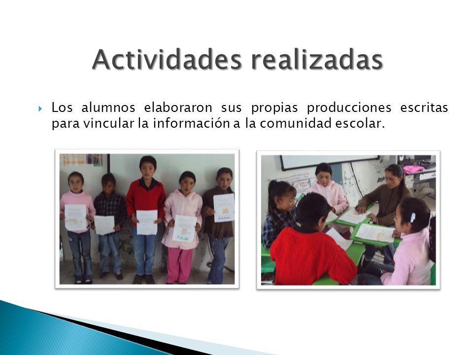 Los alumnos elaboraron sus propias producciones escritas para vincular la información a la comunidad escolar.