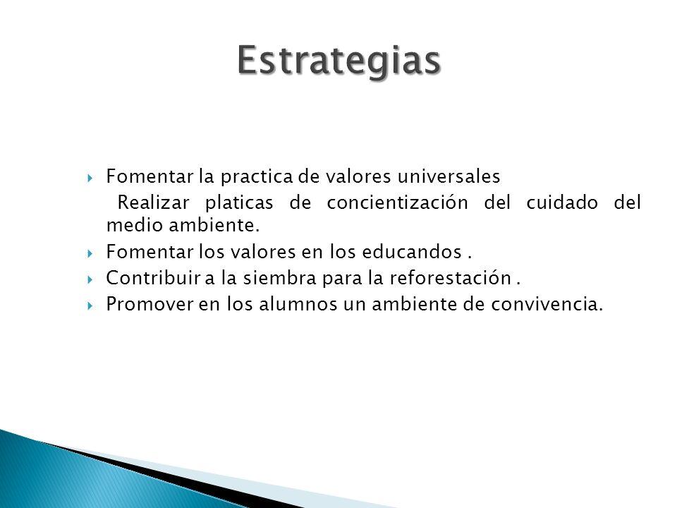 Fomentar la practica de valores universales Realizar platicas de concientización del cuidado del medio ambiente.