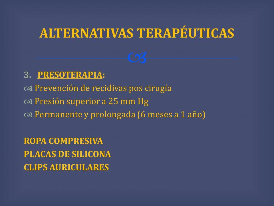 3.PRESOTERAPIA: Prevención de recidivas pos cirugía Presión superior a 25 mm Hg Permanente y prolongada (6 meses a 1 año) ROPA COMPRESIVA PLACAS DE SI