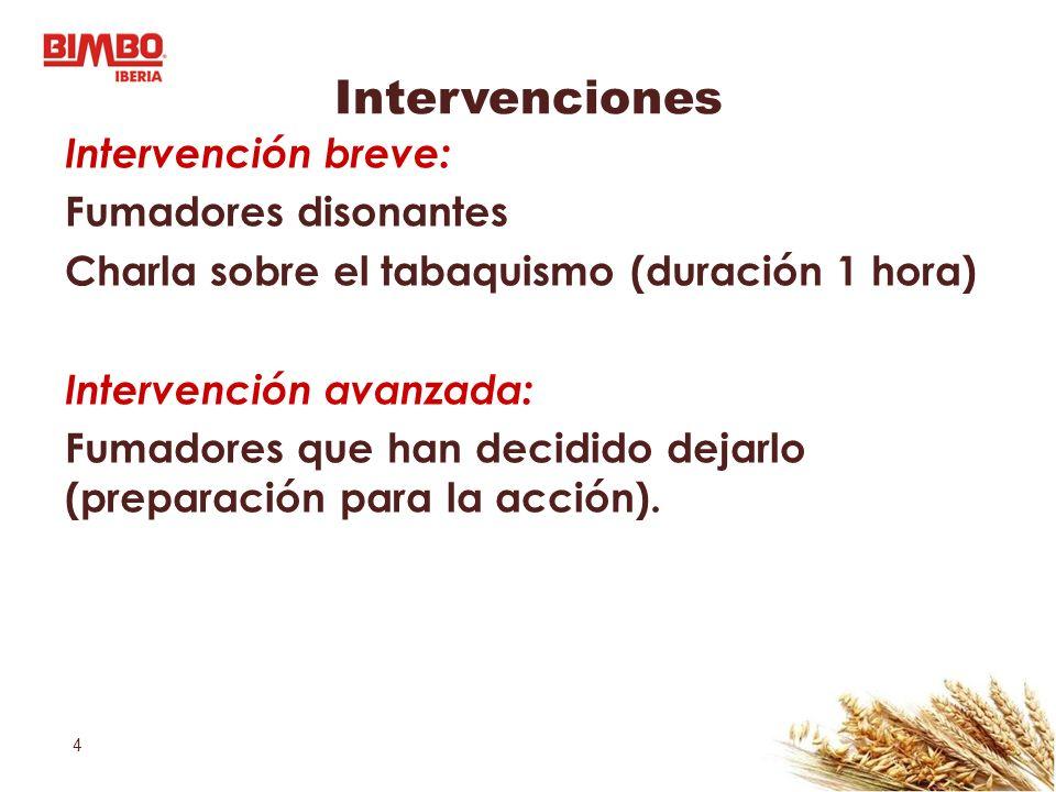 4 Intervenciones Intervención breve: Fumadores disonantes Charla sobre el tabaquismo (duración 1 hora) Intervención avanzada: Fumadores que han decidi