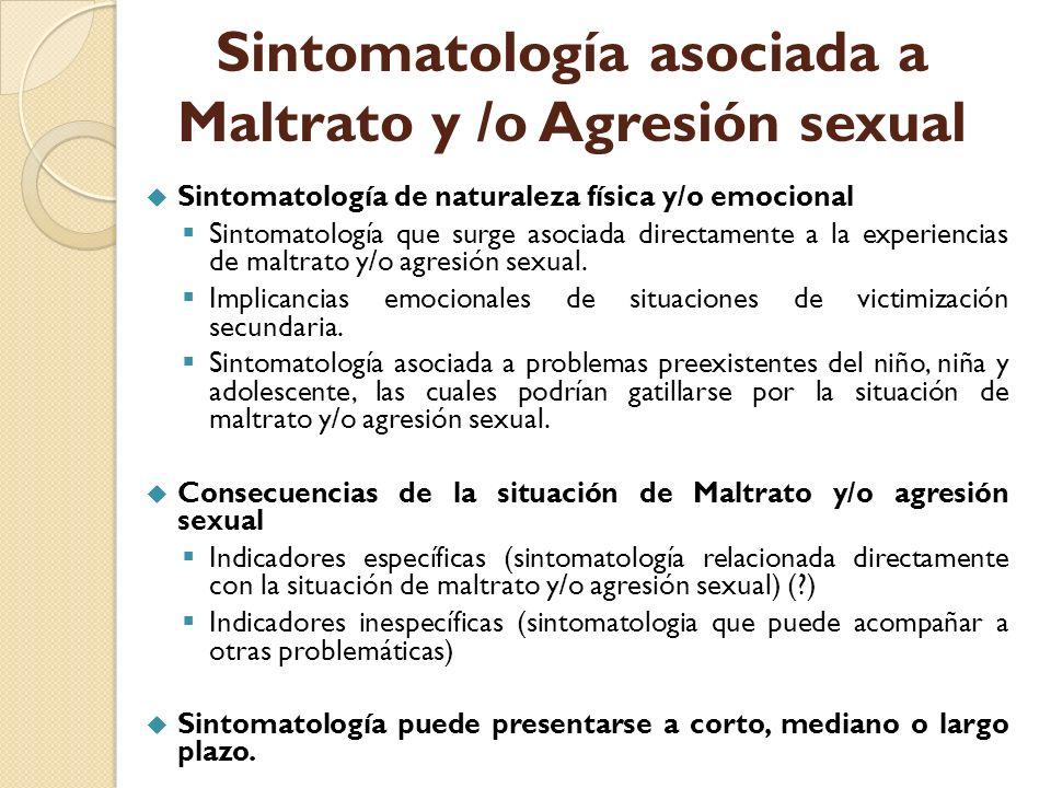 Sintomatología asociada a Maltrato y /o Agresión sexual Sintomatología de naturaleza física y/o emocional Sintomatología que surge asociada directamen