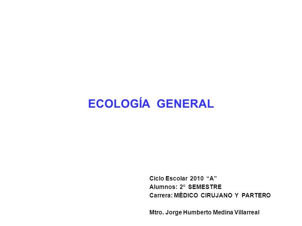 ECOLOGÍA GENERAL Ciclo Escolar 2010 A Alumnos:2º SEMESTRE Carrera: MÉDICO CIRUJANO Y PARTERO Mtro. Jorge Humberto Medina Villarreal