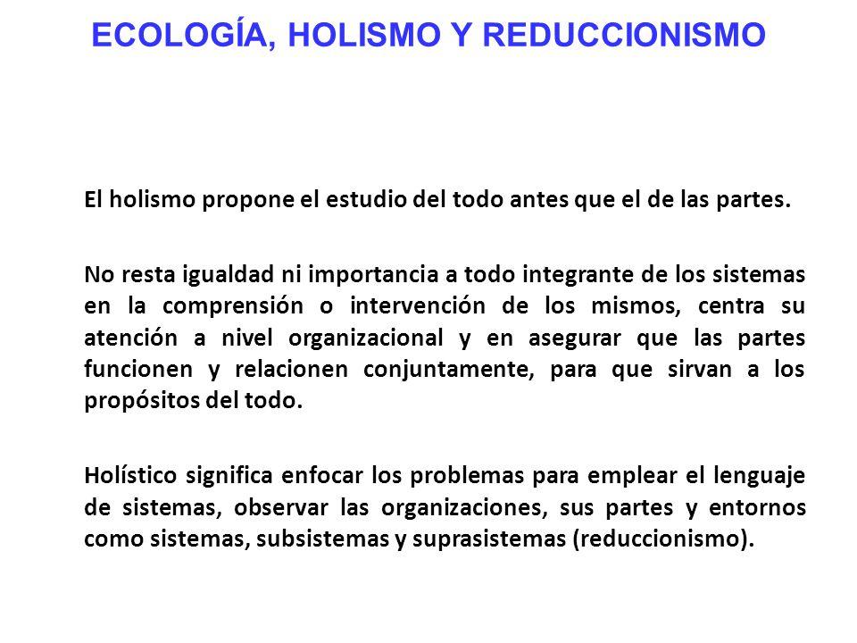 ECOLOGÍA, HOLISMO Y REDUCCIONISMO El holismo propone el estudio del todo antes que el de las partes. No resta igualdad ni importancia a todo integrant