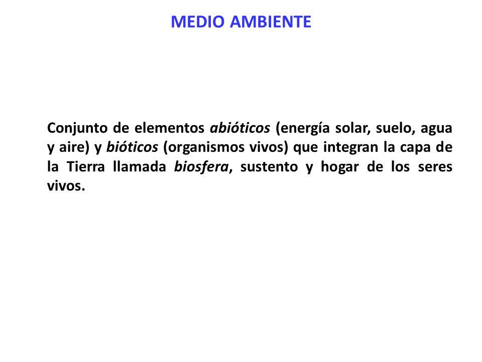MEDIO AMBIENTE Conjunto de elementos abióticos (energía solar, suelo, agua y aire) y bióticos (organismos vivos) que integran la capa de la Tierra lla
