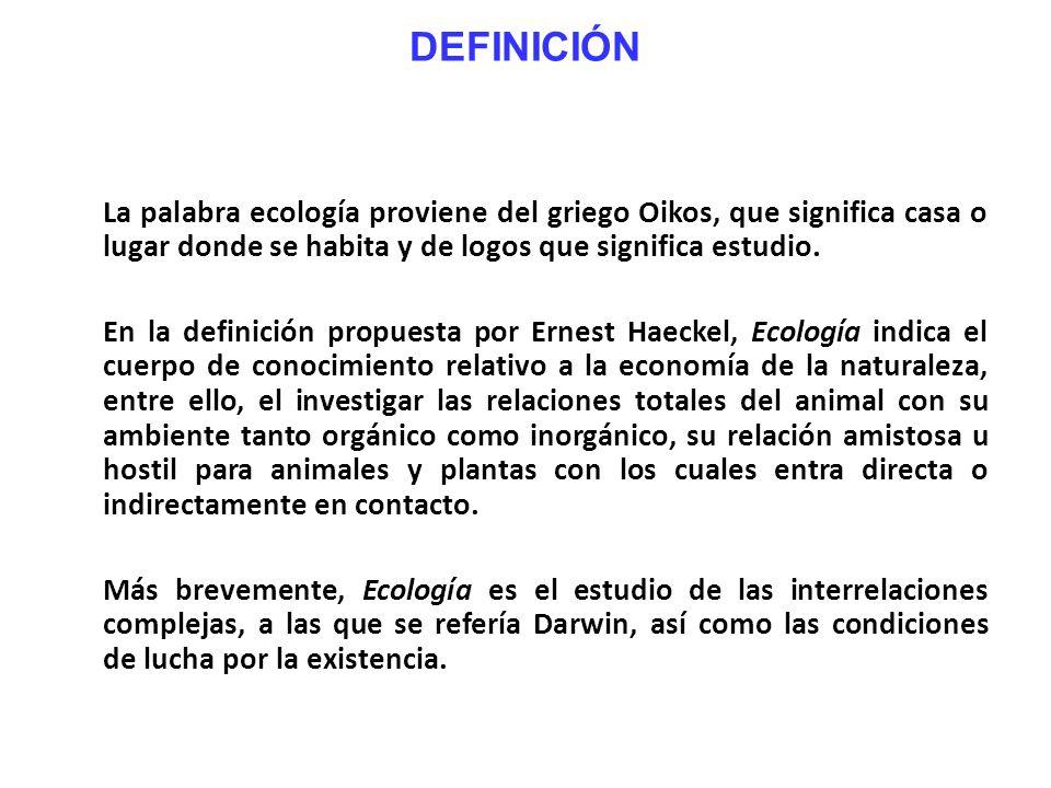 DEFINICIÓN La palabra ecología proviene del griego Oikos, que significa casa o lugar donde se habita y de logos que significa estudio. En la definició