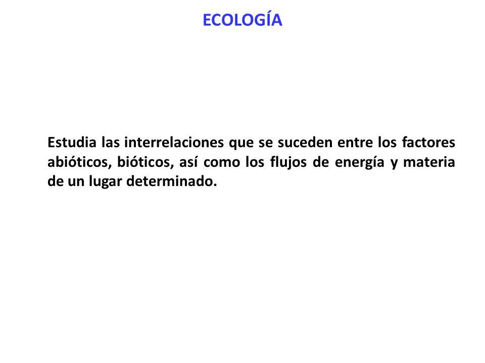 ECOLOGÍA Estudia las interrelaciones que se suceden entre los factores abióticos, bióticos, así como los flujos de energía y materia de un lugar deter