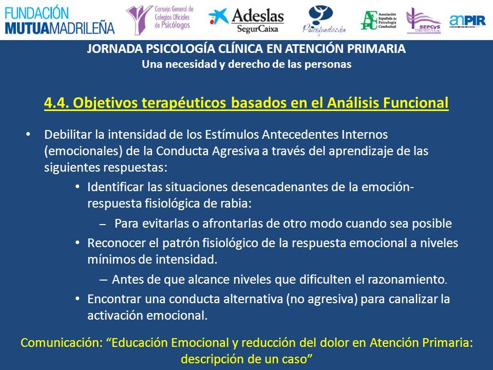 JORNADA PSICOLOGÍA CLÍNICA EN ATENCIÓN PRIMARIA Una necesidad y derecho de las personas 4.4. Objetivos terapéuticos basados en el Análisis Funcional D