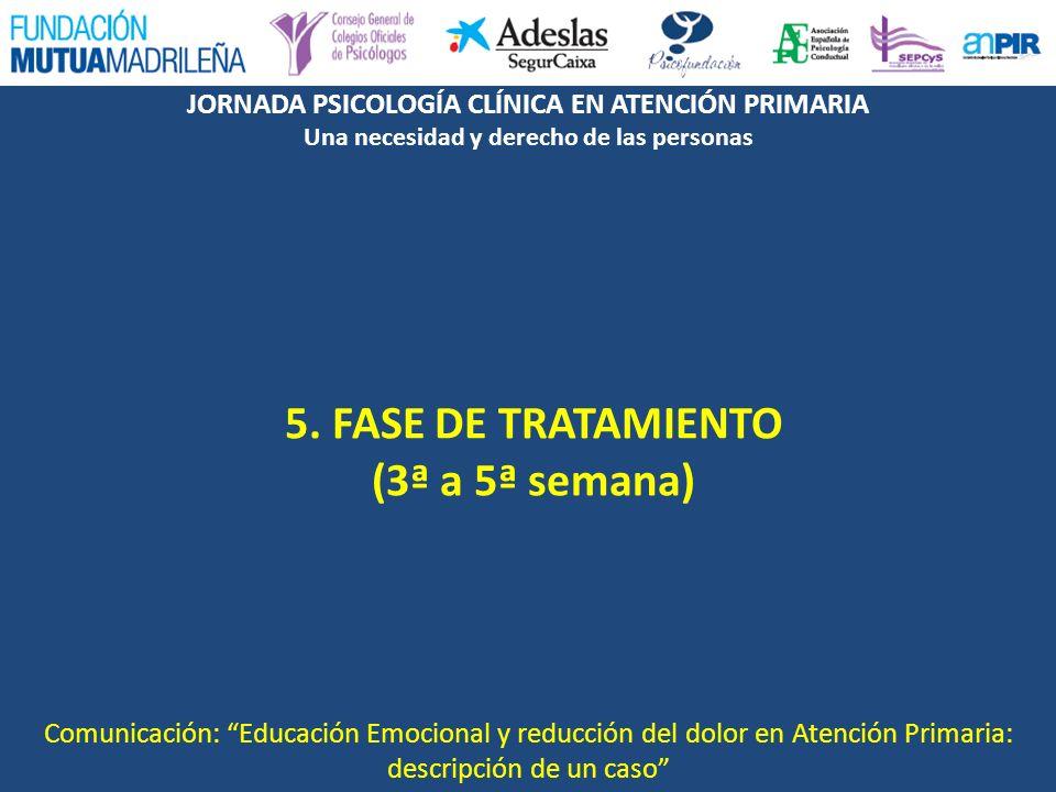 JORNADA PSICOLOGÍA CLÍNICA EN ATENCIÓN PRIMARIA Una necesidad y derecho de las personas 5. FASE DE TRATAMIENTO (3ª a 5ª semana) Comunicación: Educació