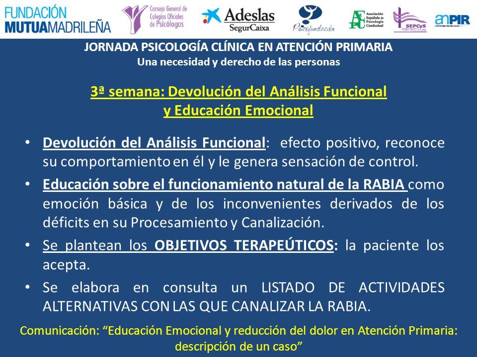 JORNADA PSICOLOGÍA CLÍNICA EN ATENCIÓN PRIMARIA Una necesidad y derecho de las personas 3ª semana: Devolución del Análisis Funcional y Educación Emoci