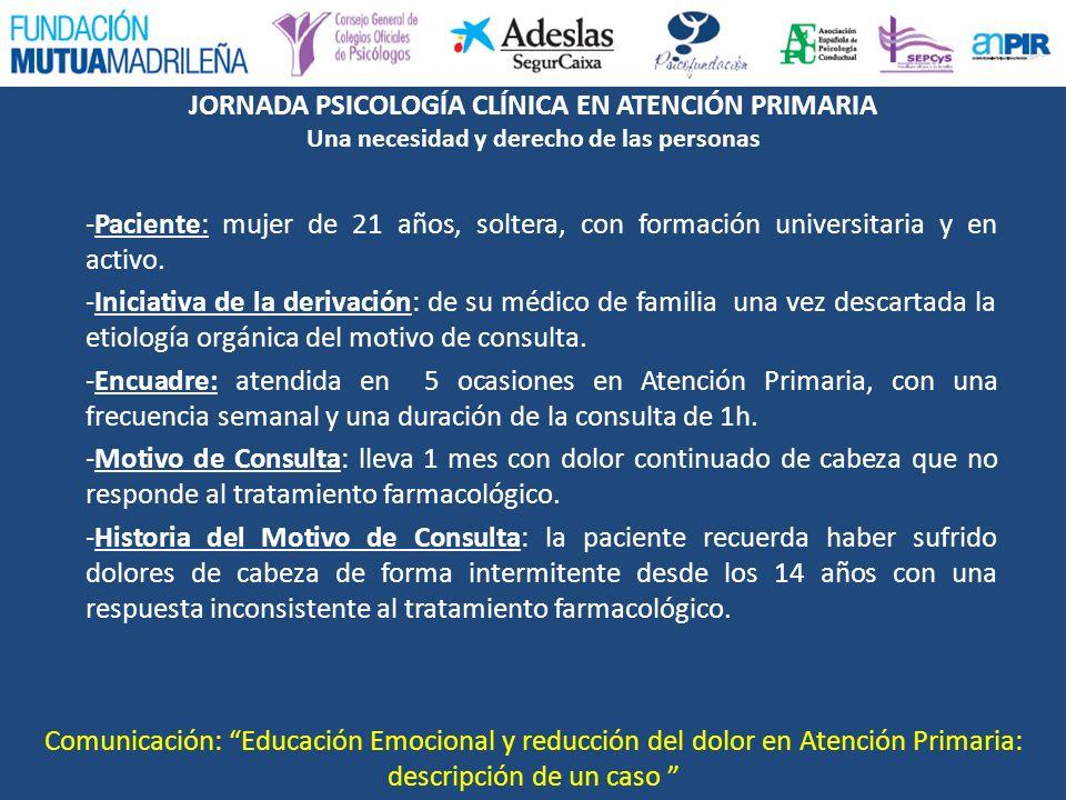 JORNADA PSICOLOGÍA CLÍNICA EN ATENCIÓN PRIMARIA Una necesidad y derecho de las personas -Paciente: mujer de 21 años, soltera, con formación universita