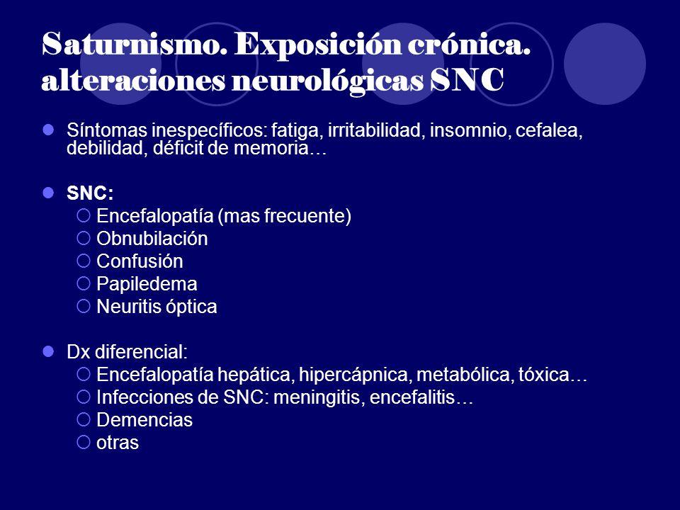 Saturnismo. Exposición crónica. alteraciones neurológicas SNC Síntomas inespecíficos: fatiga, irritabilidad, insomnio, cefalea, debilidad, déficit de