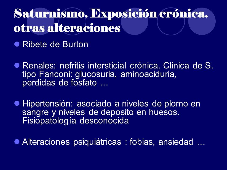 Saturnismo. Exposición crónica. otras alteraciones Ribete de Burton Renales: nefritis intersticial crónica. Clínica de S. tipo Fanconi: glucosuria, am