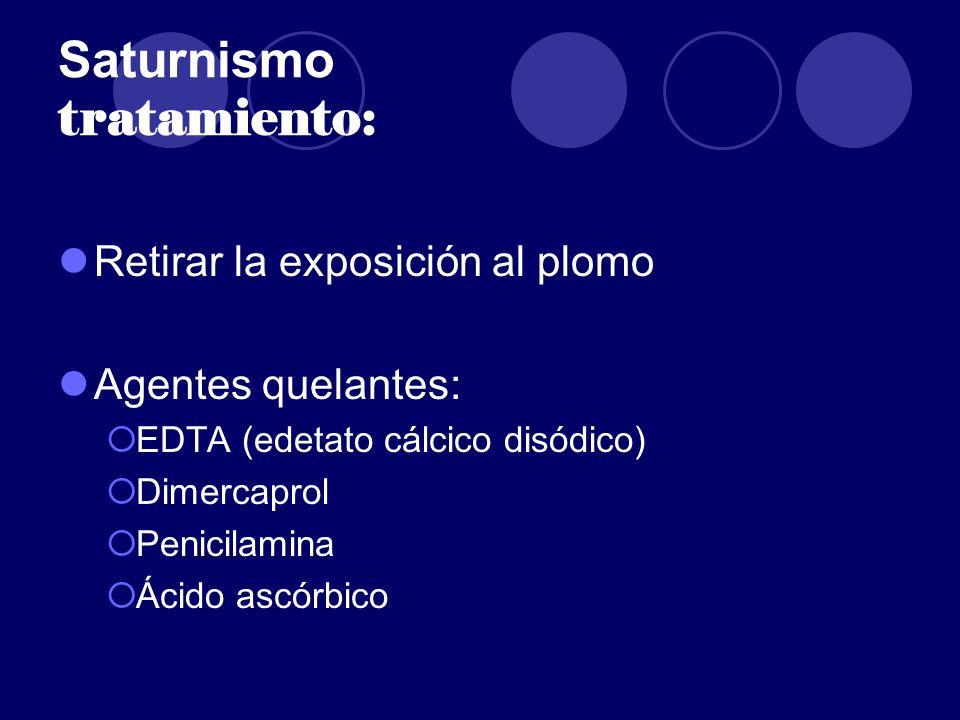 Saturnismo tratamiento: Retirar la exposición al plomo Agentes quelantes: EDTA (edetato cálcico disódico) Dimercaprol Penicilamina Ácido ascórbico