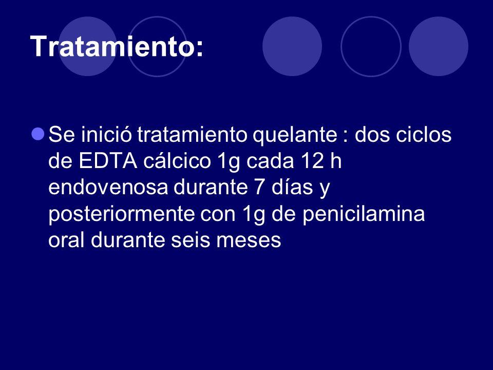 Tratamiento: Se inició tratamiento quelante : dos ciclos de EDTA cálcico 1g cada 12 h endovenosa durante 7 días y posteriormente con 1g de penicilamin