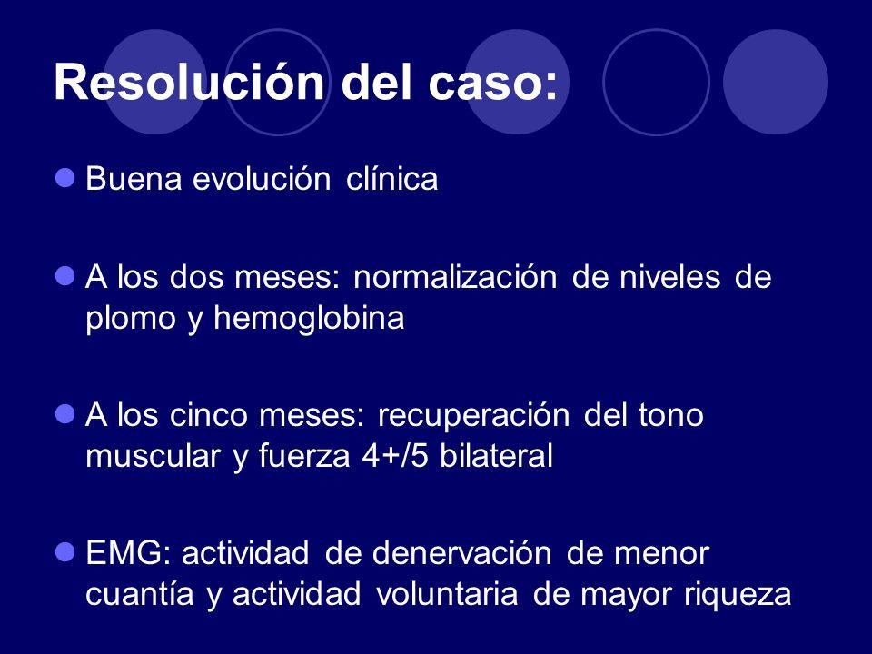 Resolución del caso: Buena evolución clínica A los dos meses: normalización de niveles de plomo y hemoglobina A los cinco meses: recuperación del tono