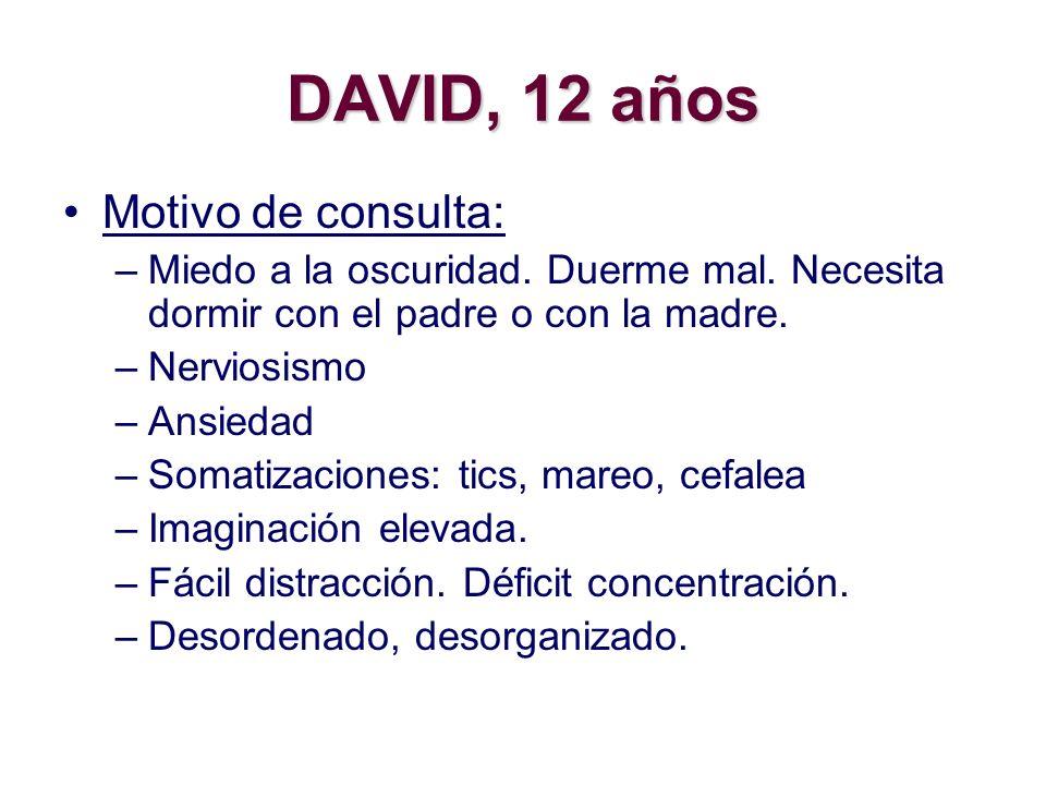DAVID, 12 años Motivo de consulta: –Miedo a la oscuridad. Duerme mal. Necesita dormir con el padre o con la madre. –Nerviosismo –Ansiedad –Somatizacio