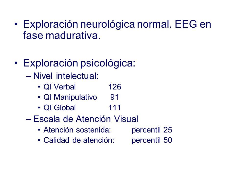 Exploración neurológica normal. EEG en fase madurativa. Exploración psicológica: –Nivel intelectual: QI Verbal 126 QI Manipulativo 91 QI Global 111 –E