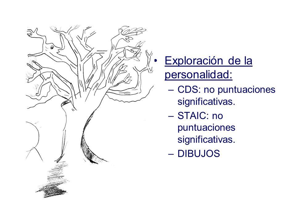 Exploración de la personalidad: –CDS: no puntuaciones significativas. –STAIC: no puntuaciones significativas. –DIBUJOS