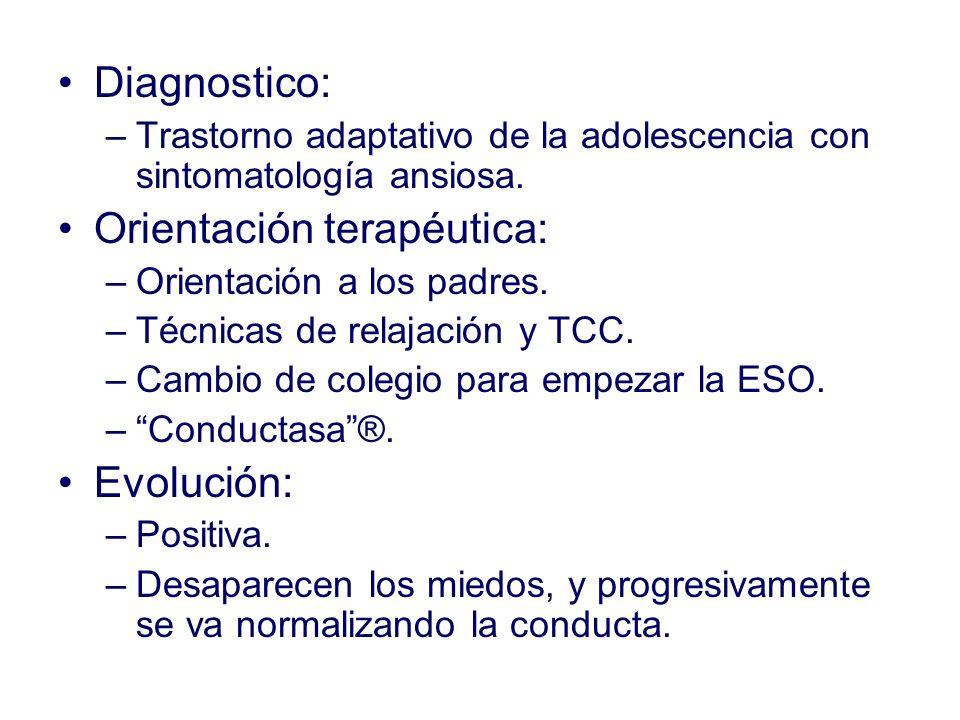 Diagnostico: –Trastorno adaptativo de la adolescencia con sintomatología ansiosa. Orientación terapéutica: –Orientación a los padres. –Técnicas de rel