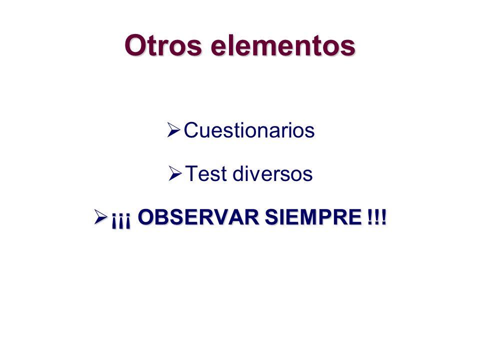 Otros elementos Cuestionarios Test diversos ¡¡¡ OBSERVAR SIEMPRE !!! ¡¡¡ OBSERVAR SIEMPRE !!!