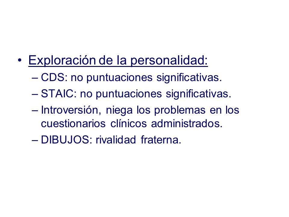 Exploración de la personalidad: –CDS: no puntuaciones significativas. –STAIC: no puntuaciones significativas. –Introversión, niega los problemas en lo