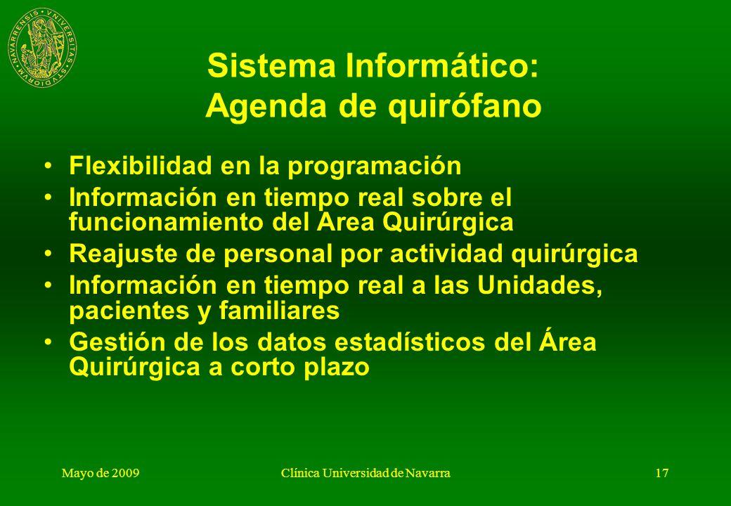 Mayo de 2009Clínica Universidad de Navarra16 Unidad de Gestión (II) Sistema informático: Información en tiempo real ( a gestión, familia, equipos quir