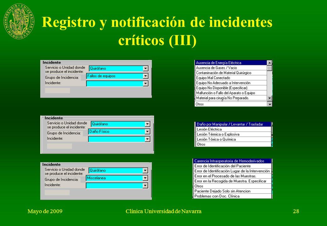 Mayo de 2009Clínica Universidad de Navarra27 Registro y notificación de incidentes críticos (II)