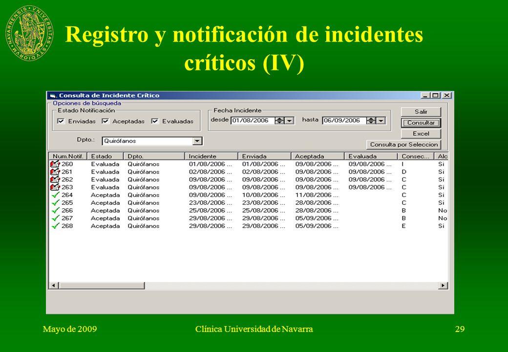 Mayo de 2009Clínica Universidad de Navarra28 Registro y notificación de incidentes críticos (III)