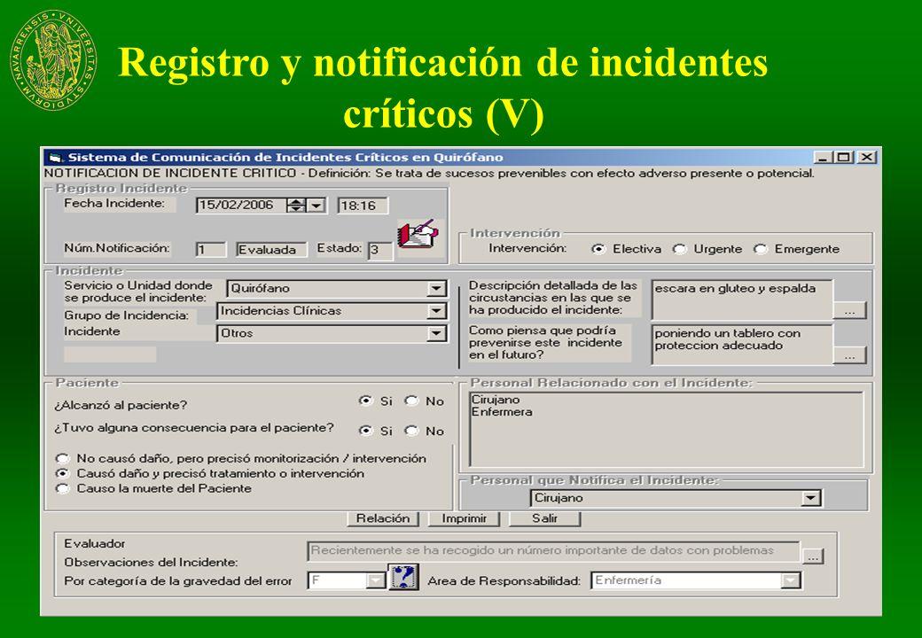 Mayo de 2009Clínica Universidad de Navarra29 Registro y notificación de incidentes críticos (IV)