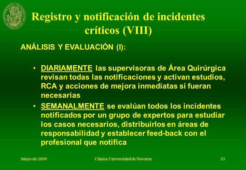 Mayo de 2009Clínica Universidad de Navarra32 CARACTERÍSTICAS: No carácter punitivo Voluntario Confidencial Formato electrónico: sistema de información