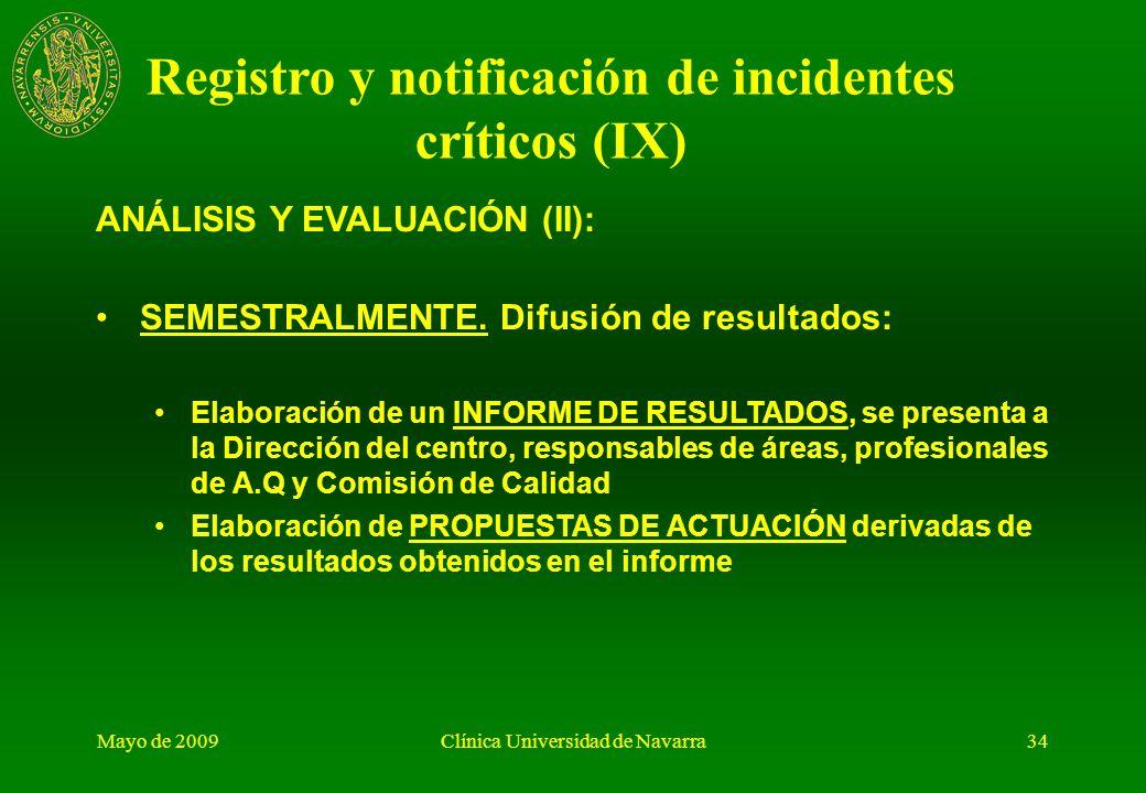 Mayo de 2009Clínica Universidad de Navarra33 ANÁLISIS Y EVALUACIÓN (I): DIARIAMENTE las supervisoras de Área Quirúrgica revisan todas las notificacion