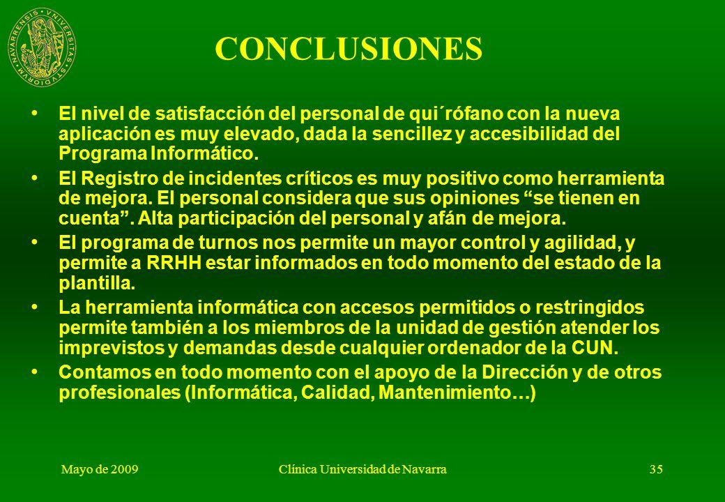 Mayo de 2009Clínica Universidad de Navarra34 ANÁLISIS Y EVALUACIÓN (II): SEMESTRALMENTE. Difusión de resultados: Elaboración de un INFORME DE RESULTAD