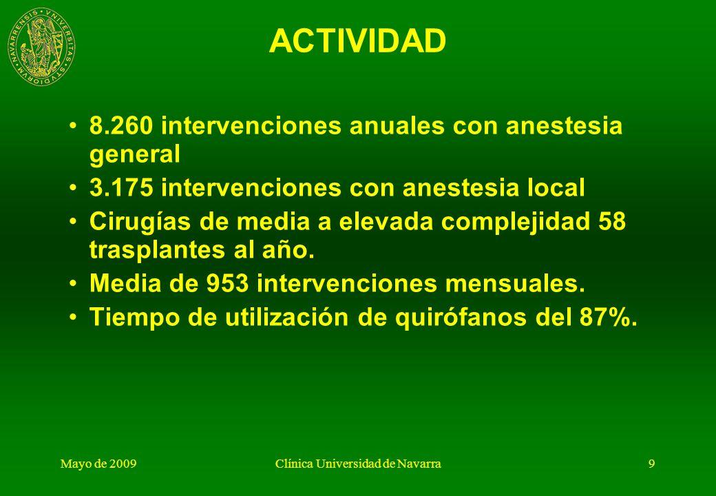 Mayo de 2009Clínica Universidad de Navarra8 GESTIÓN DEL ÁREA QUIRURGICA Actividad, Infraestructura y Staff. Lista de espera. Unidad de Gestión y objet